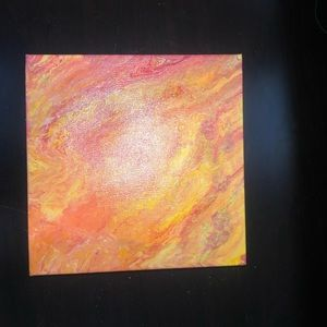 Hand made hand painted BRIGHT ORANGE RED canvas